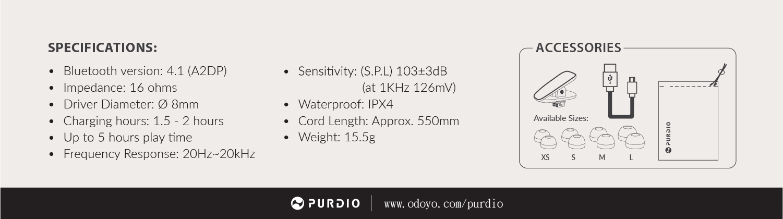 Purdio Opal Bluetooth Wireless In ear Headphones best audio budget earphones