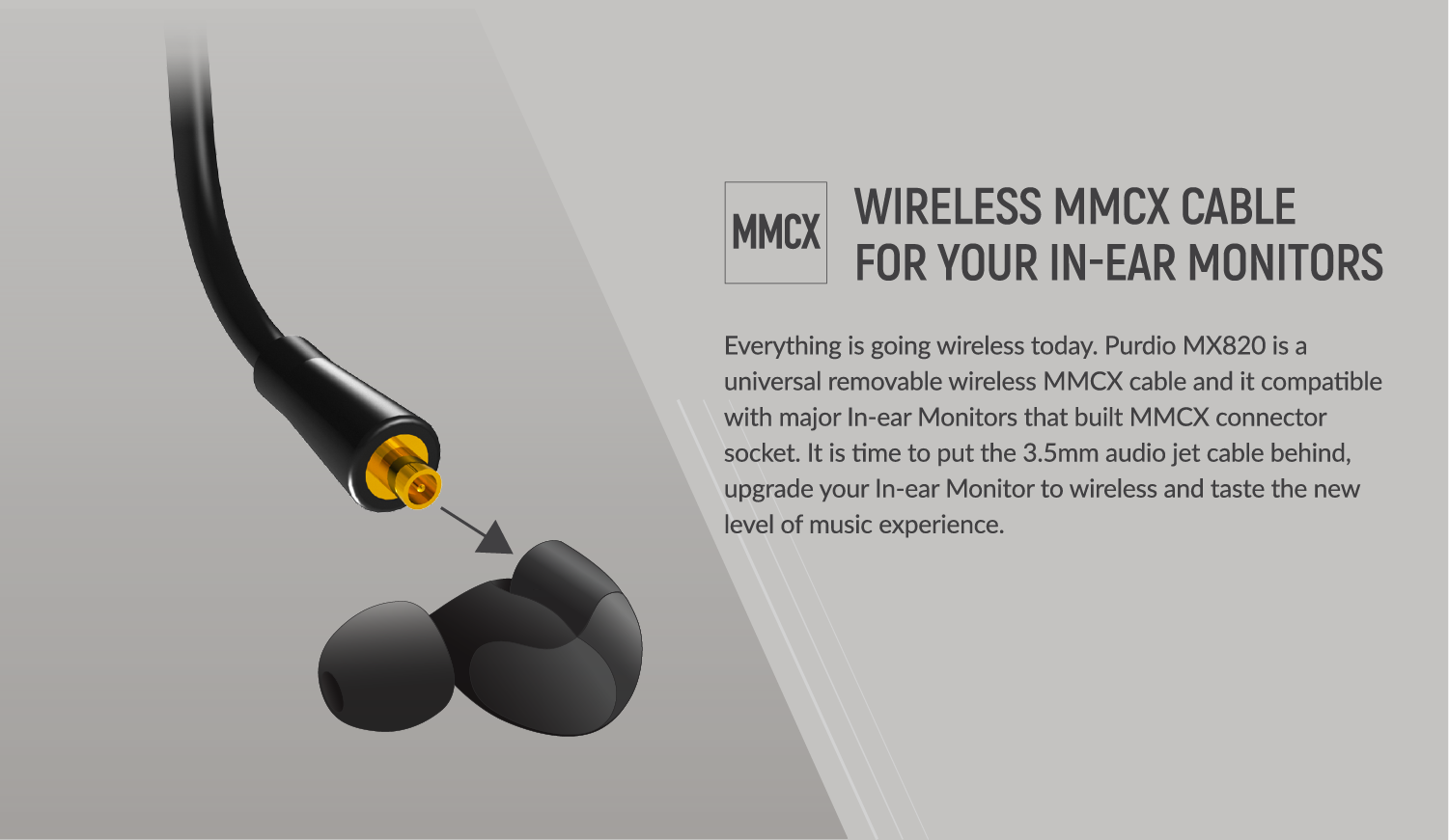 MMCX Cable, wireless MMCX cable, removable MMCX cable, bluetooth MMCX cable, Westone, shure,