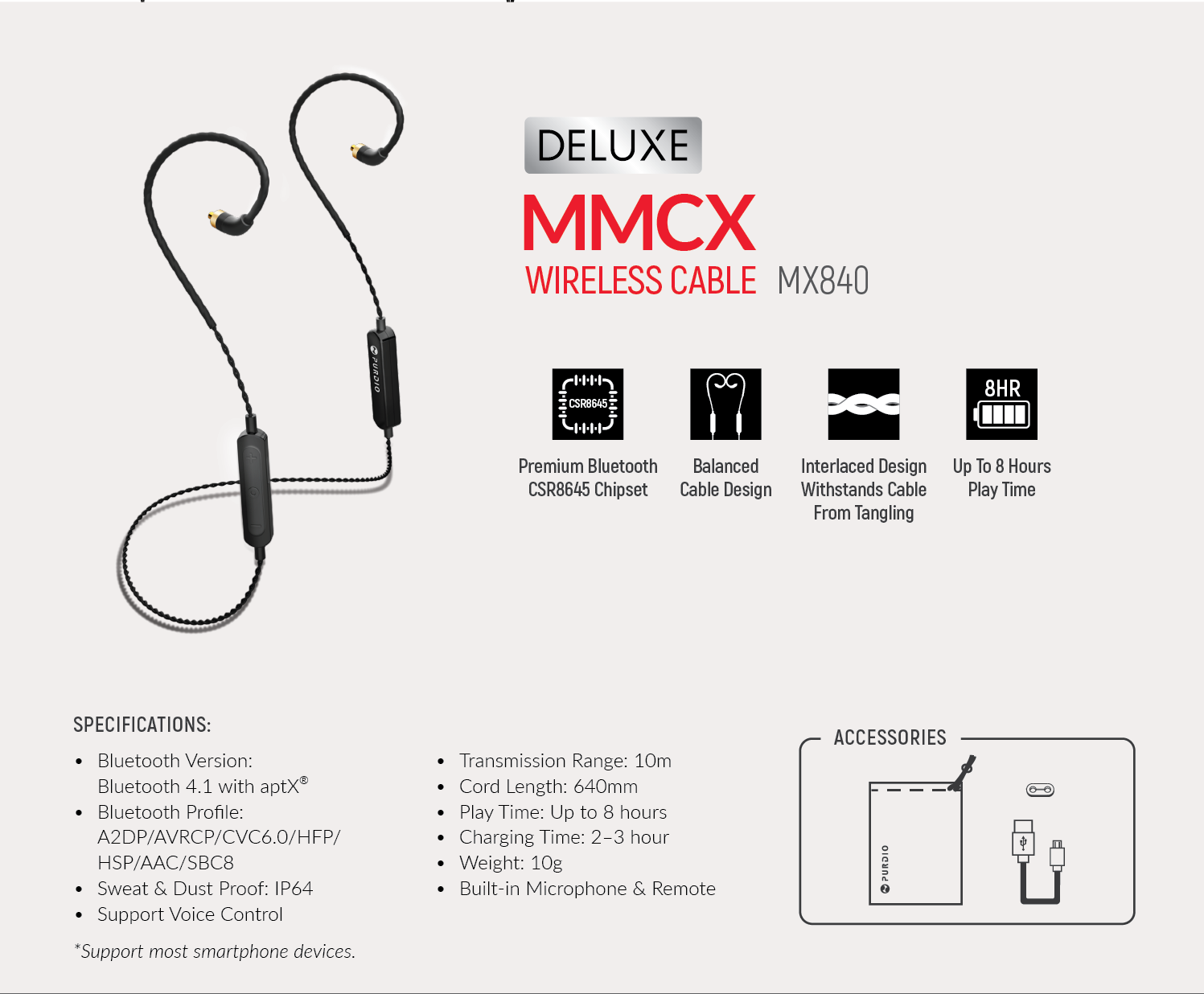 Purdio, Deluxe Wireless MMCX Cable evolve your conventional wired MMCX in-ear monitors to a professional wireless earphones MX840 MMCX Cable, removable MMCX cable, bluetooth MMCX cable, Westone, Shure,