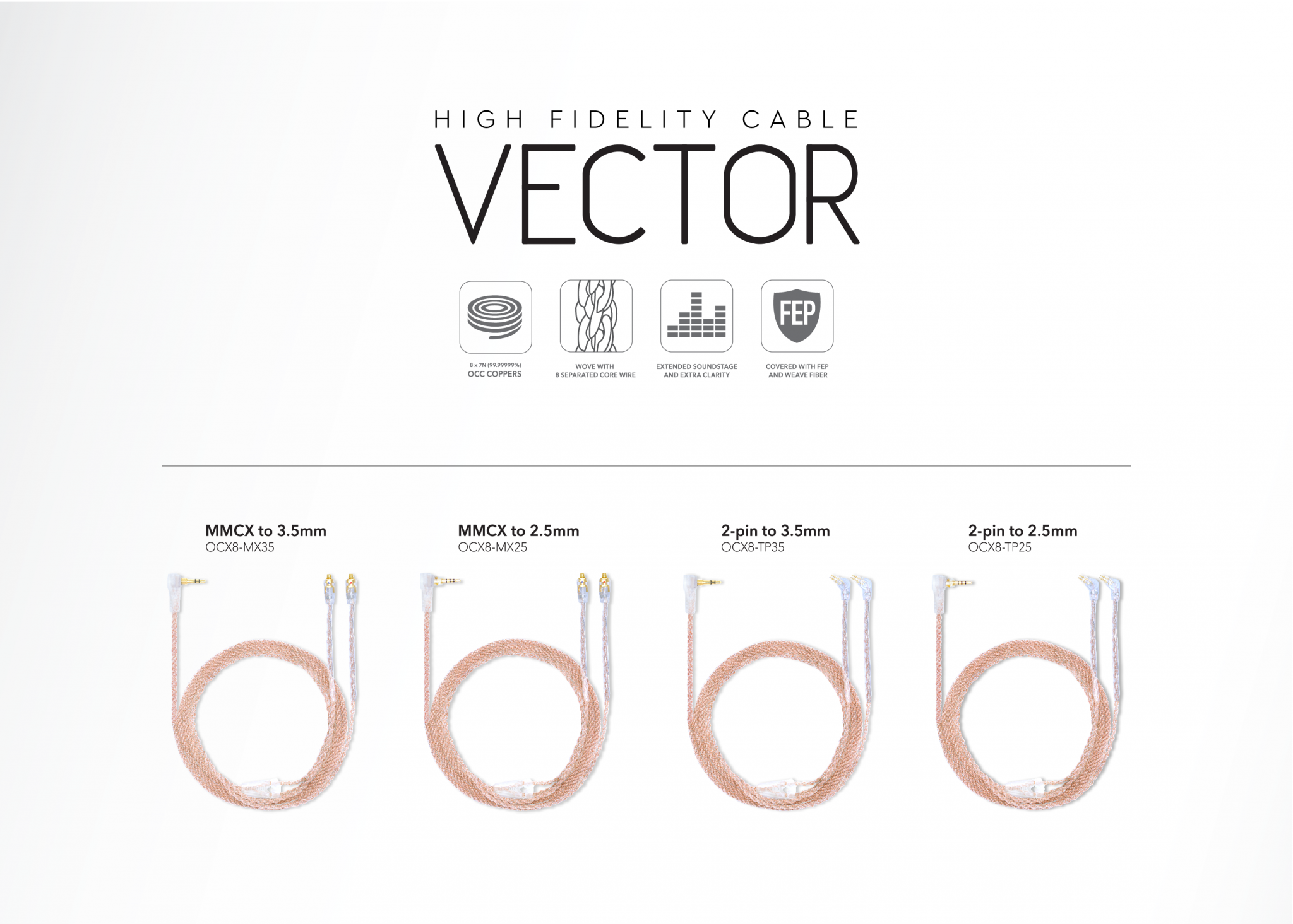 Purdio Vector High Fidelity Cable - 2 Pin to 3.5mm Stereo Plug, MMCX to 2.5mm Stereo Plug, MMCX to 3.5mm Stereo Plug, 2 Pin to 2.5mm Stereo Plug