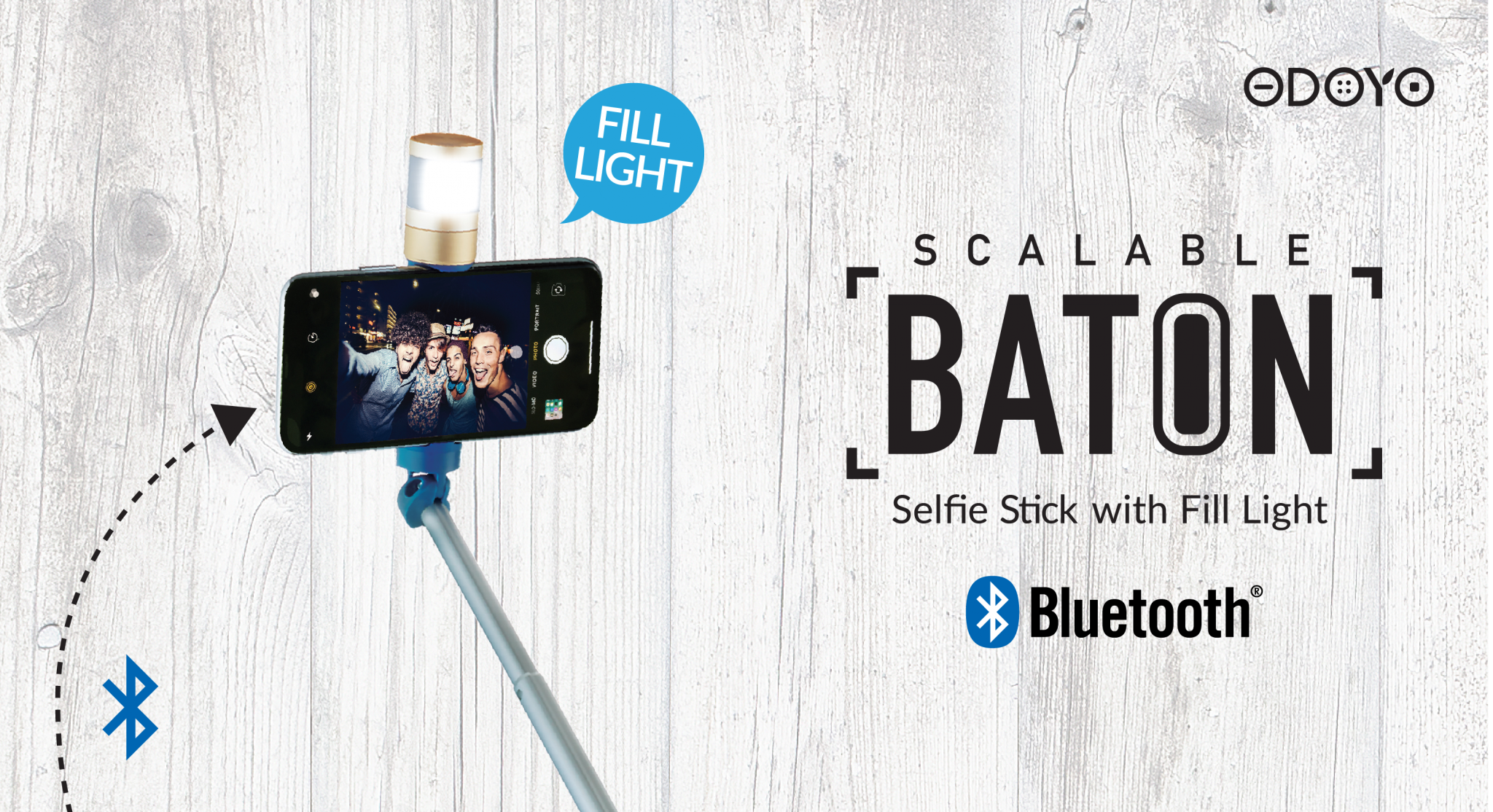 (ZP100) Scalable Baton - Selfie Stick with Fill Light