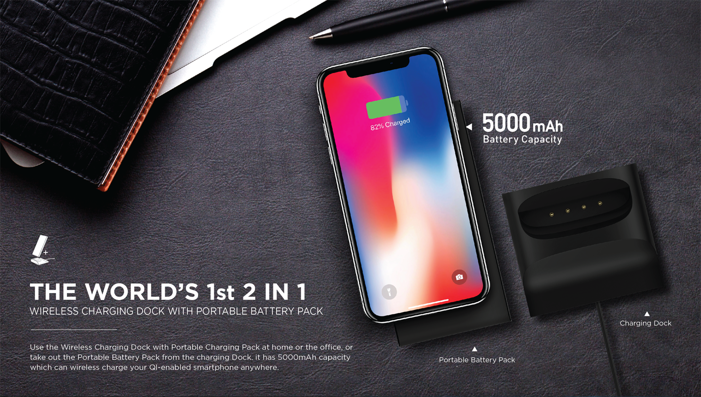 ODOYO 2 in 1 Wireless Charging Dock and Portable Battery Pack for all Qi-enabled smartphones, include iPhone x, iPhone 8 and iPhone 8 Plus