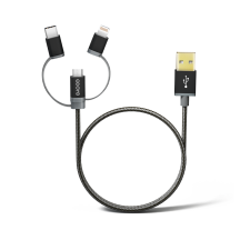 Stylish and durable 3 in 1 USB cable include MFI Lightning to USB, Type-C to USB and Micro USB to USB.