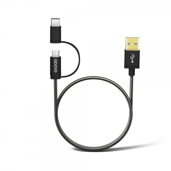 1.2M 2 in 1 Metallic Fast Charge & Sync USB Cable With Type C and Micro