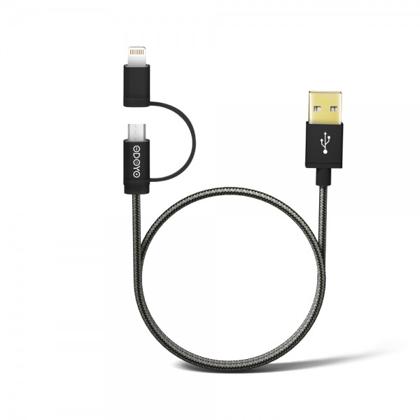 1.2M 2 in 1 Metallic Fast Charge & Sync USB Cable With Lightning and Micro