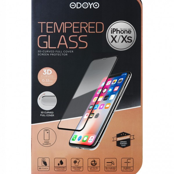 0.33mm Tempered Glass 3D-Curved Full Cover Screen Protector for iPhone X/XS